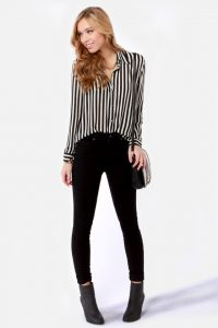 striped shirt with black jeans