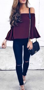 black jeans with off should top