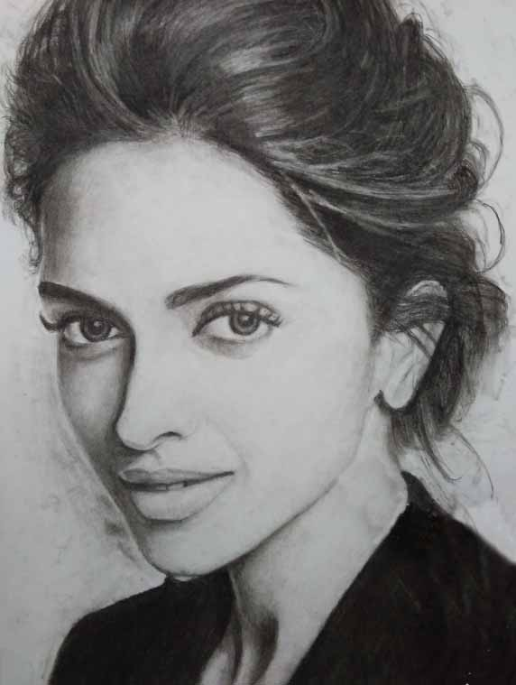 Charcoal Pencil Sketch Drawing Deepika Padukone