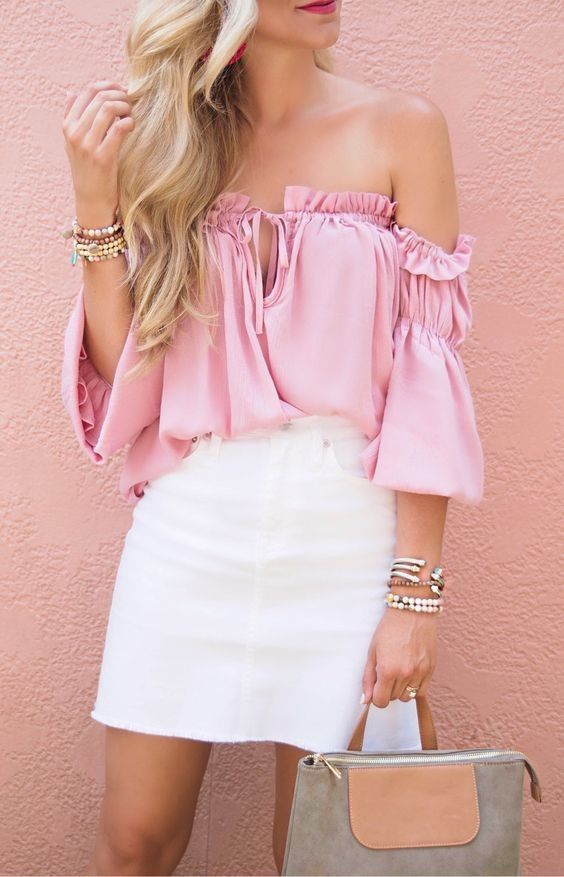 Pink-Ruffle-Paradise-And-The-White-Denim-Skirt