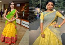 half saree color combinations
